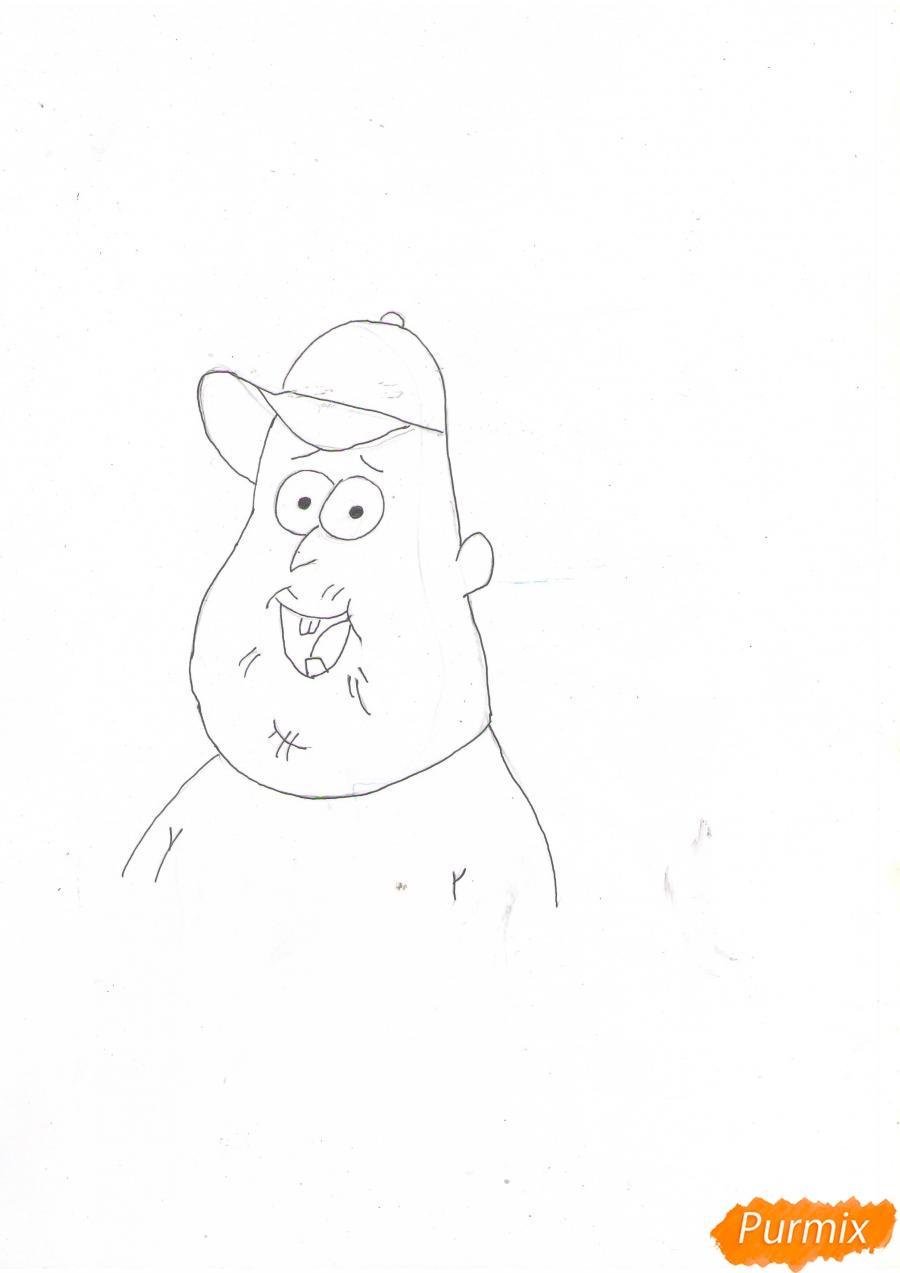 Рисуем Зуса из мультфильма Гравити Фолз карандашами - шаг 4
