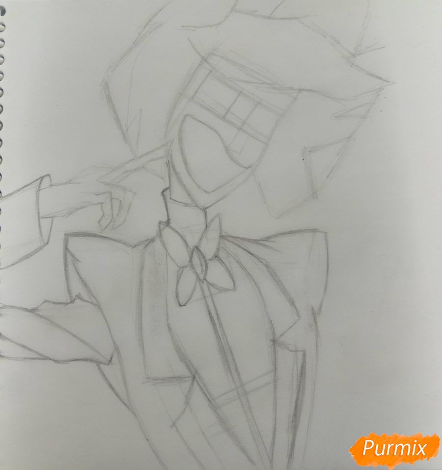 Рисуем Аластора из Отеля Хазбин карандашами - шаг 2
