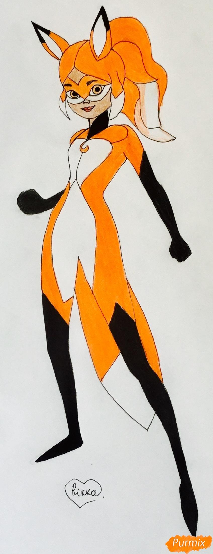 Рисуем Алью вольпину из мультфильма Леди Баг и Супер Кот - шаг 8