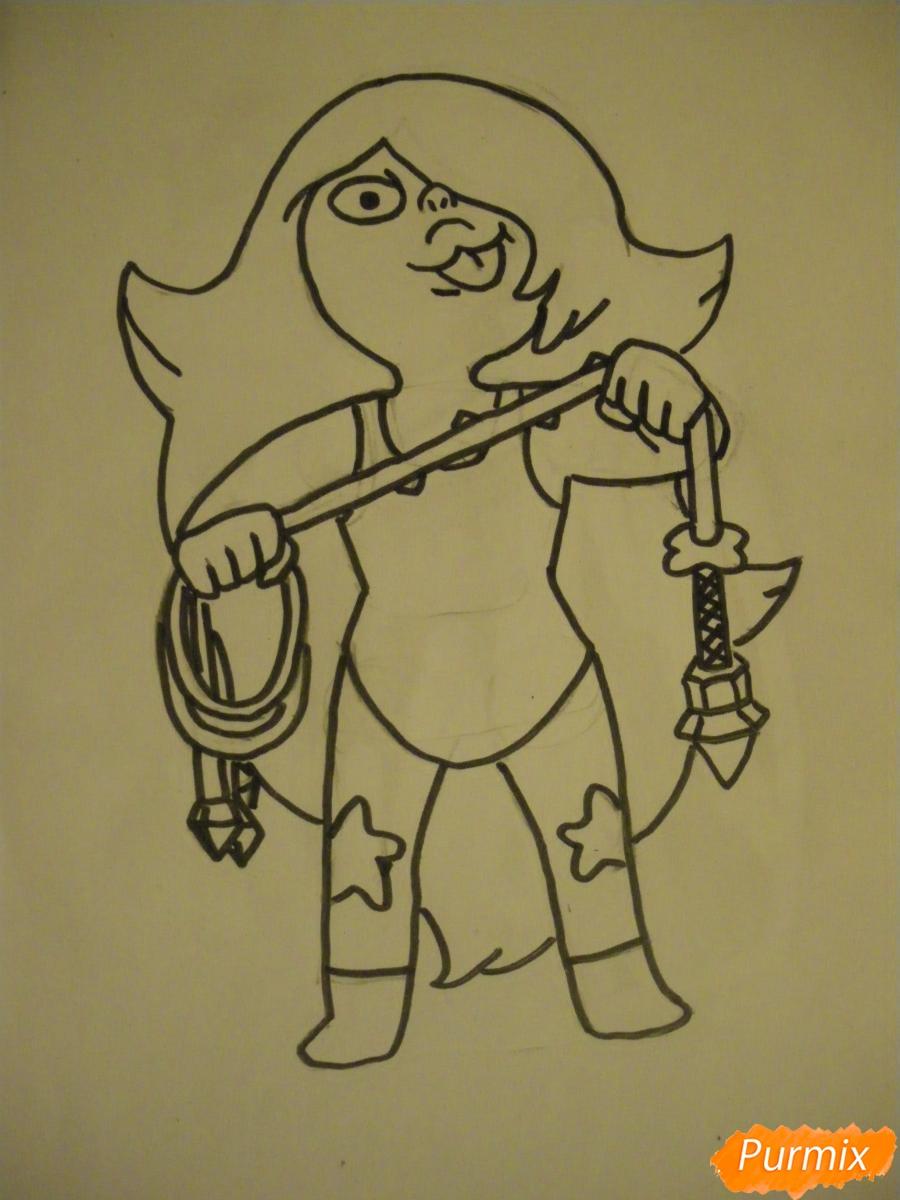 Рисуем Аметист из Вселенная Стивена карандашами - шаг 6