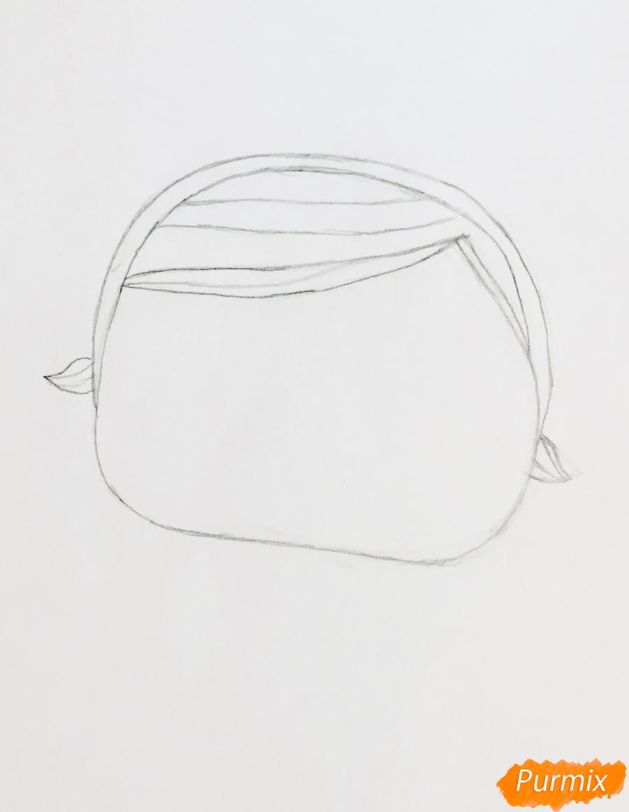 Рисуем белую кошечку с кроличьими ушками из мультфильма Lol Pets - шаг 2
