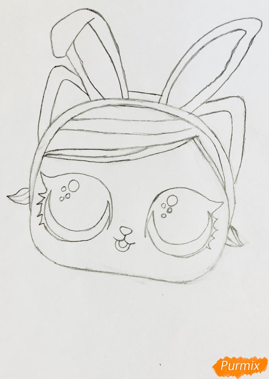 Рисуем белую кошечку с кроличьими ушками из мультфильма Lol Pets - шаг 4