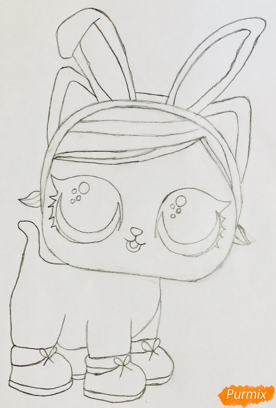 Рисуем белую кошечку с кроличьими ушками из мультфильма Lol Pets - шаг 5