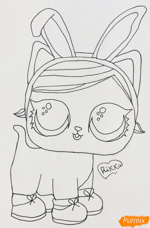 Рисуем белую кошечку с кроличьими ушками из мультфильма Lol Pets - шаг 6