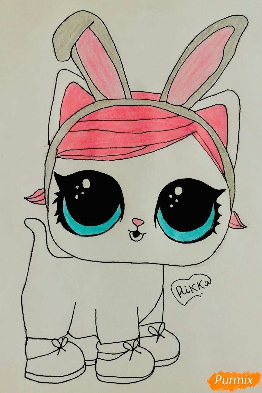 Рисуем белую кошечку с кроличьими ушками из мультфильма Lol Pets - шаг 8