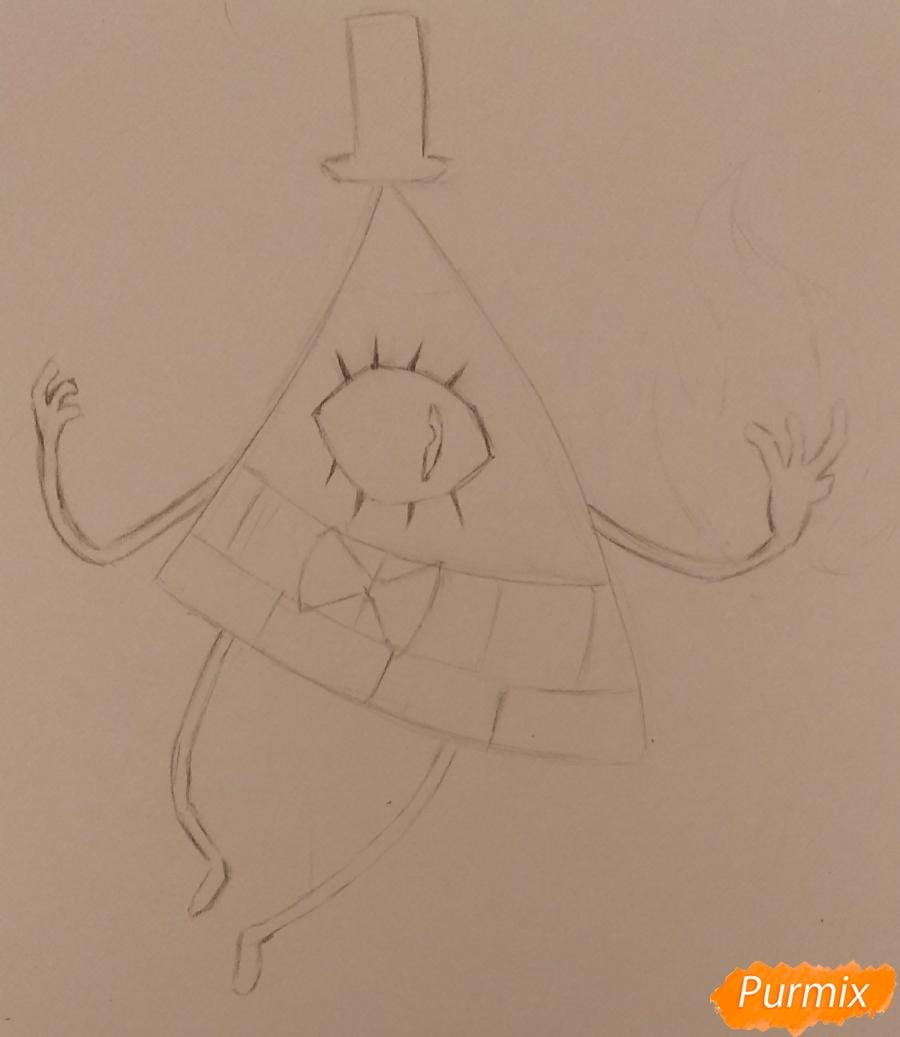 Рисуем Билла Сайфера с огнем - шаг 1