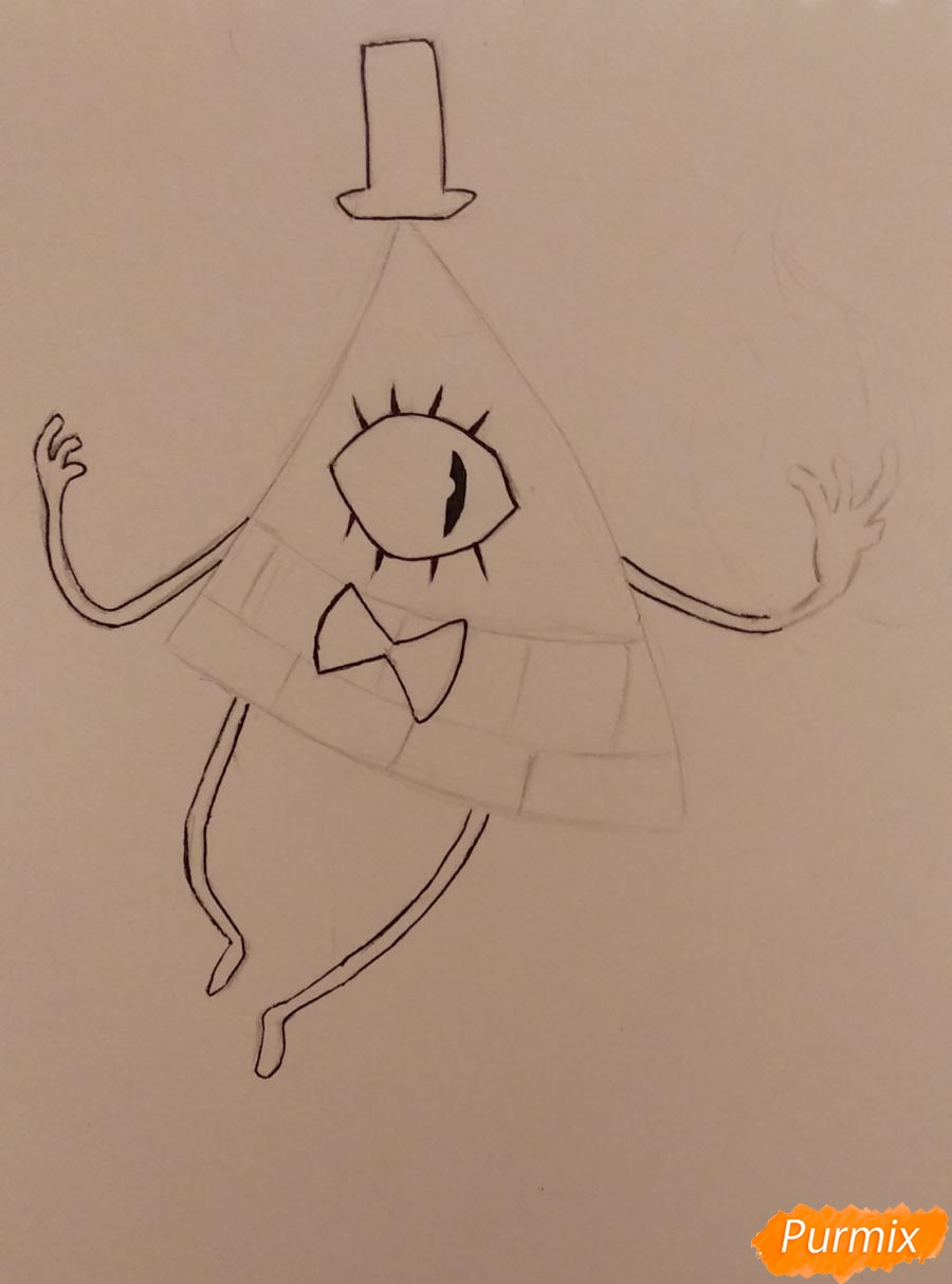 Рисуем Билла Сайфера с огнем - шаг 2
