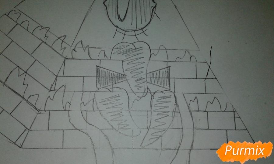Рисуем Билла Шифра из Гравити Фолз карандашами - шаг 5