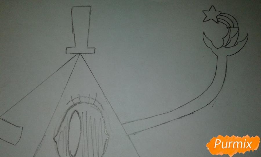 Рисуем Билла Шифра из Гравити Фолз карандашами - шаг 9