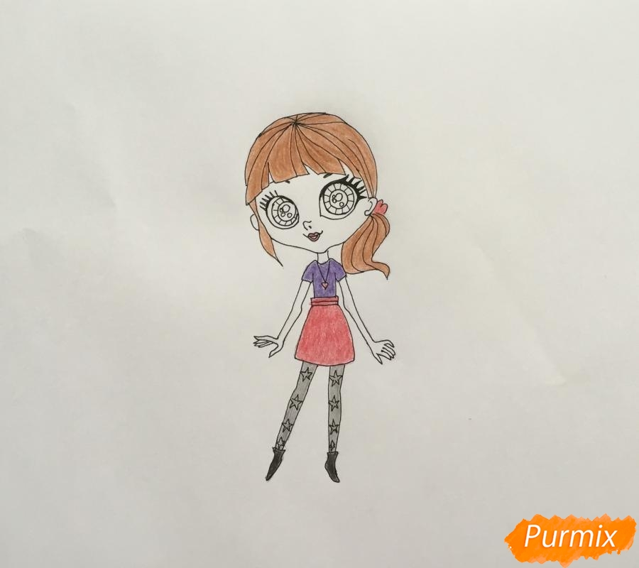 Рисуем Блайс Бакстер из мультфильма My Littlest Pet Shop - шаг 6