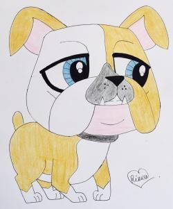 Фото бульдога из My Littlest Pet Shop карандашом