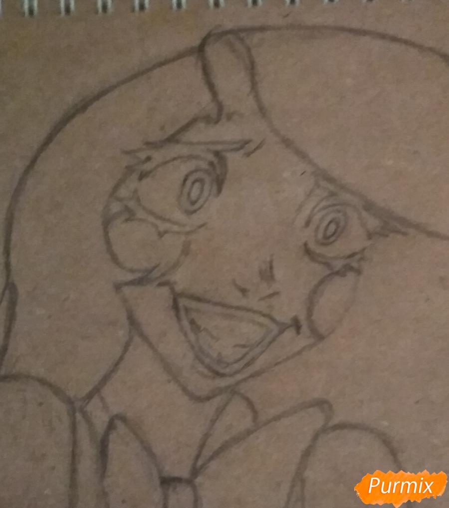 Рисуем Чарли из Отель Хазбин карандашами - шаг 5