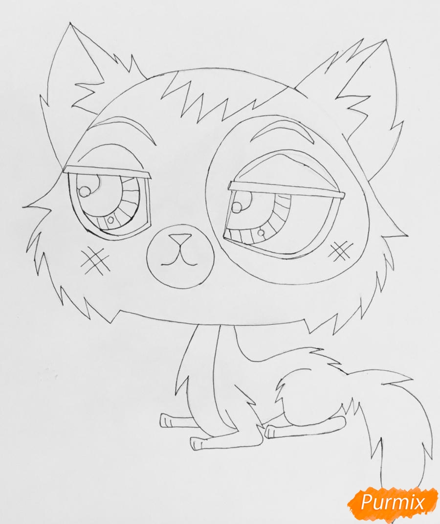 Рисуем чёрно серую кошку из мультфильма My Littlest Pet Shop - шаг 5
