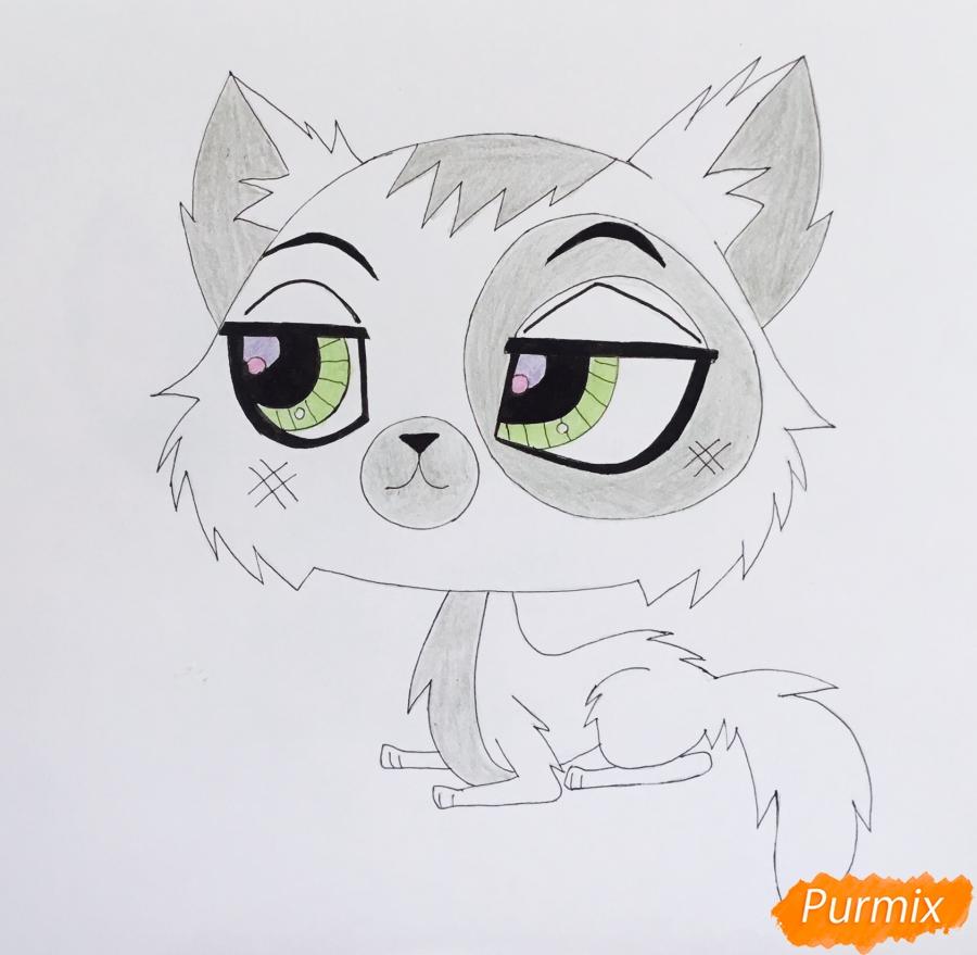 Рисуем чёрно серую кошку из мультфильма My Littlest Pet Shop - шаг 6
