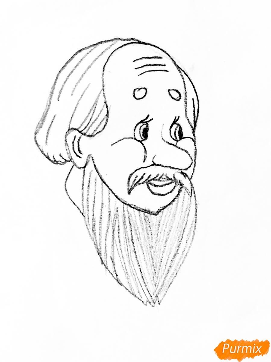 Рисуем деда бабку и колобка из сказки цветными карандашами - шаг 1