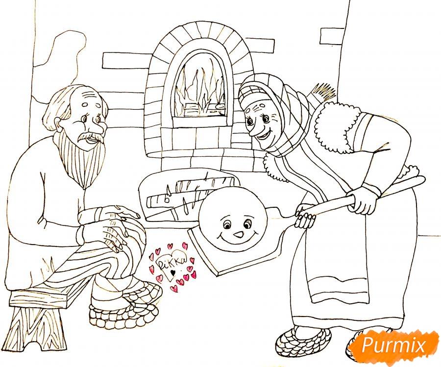 Рисуем деда бабку и колобка из сказки цветными карандашами - шаг 11