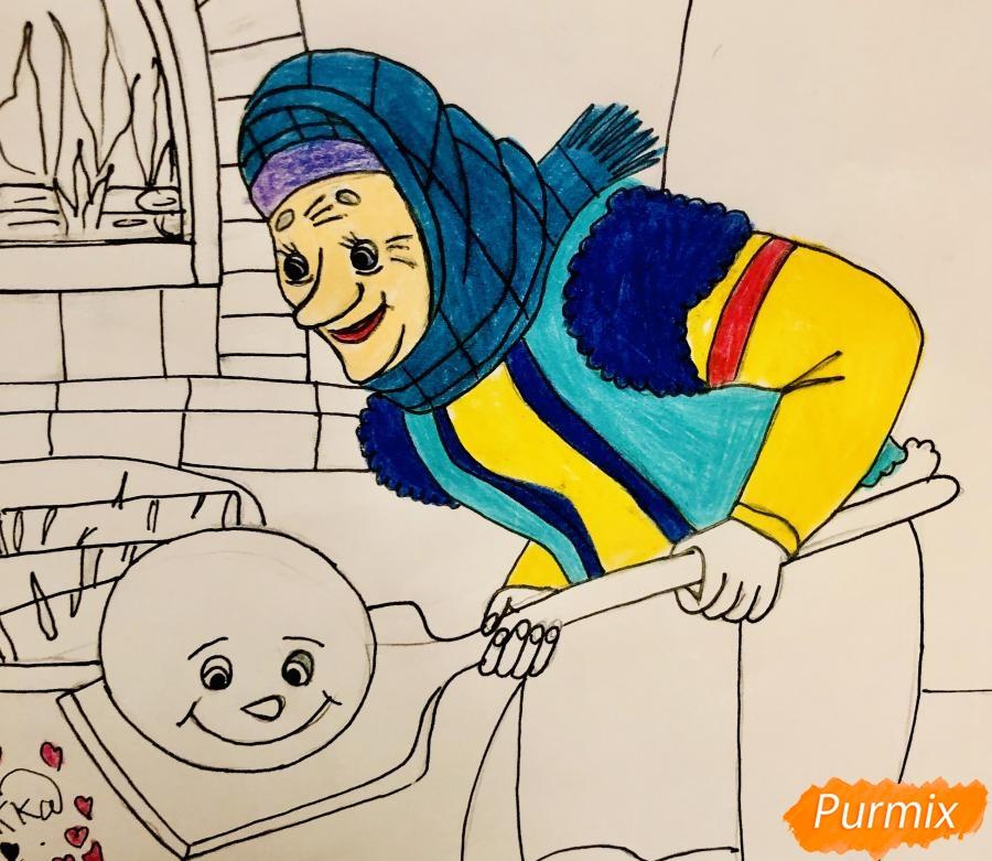 Рисуем деда бабку и колобка из сказки цветными карандашами - шаг 14