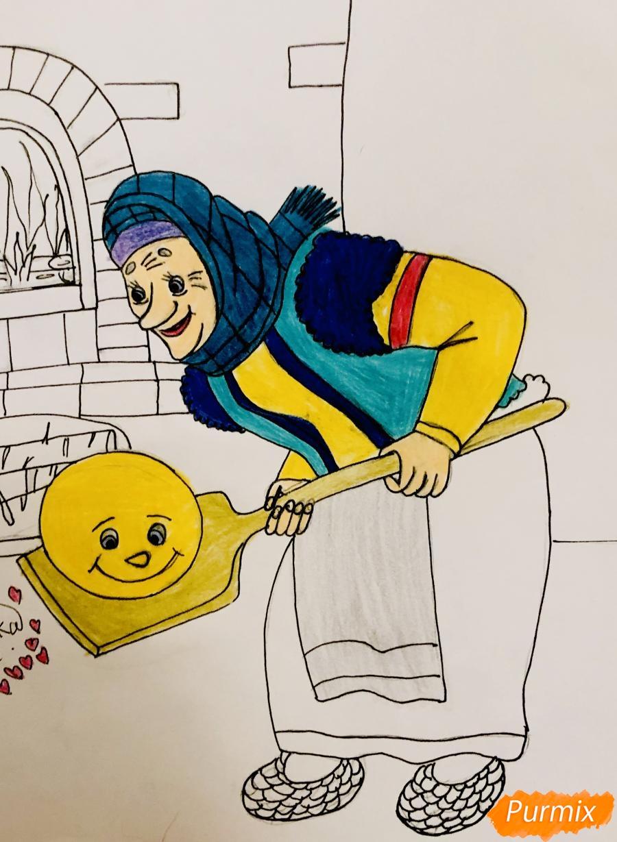 Рисуем деда бабку и колобка из сказки цветными карандашами - шаг 15