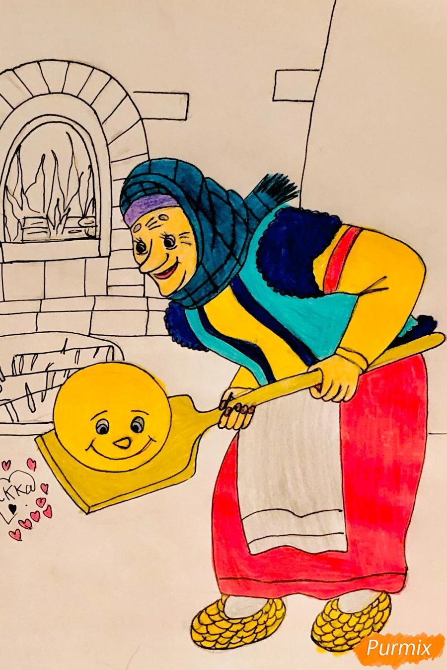 Рисуем деда бабку и колобка из сказки цветными карандашами - шаг 16
