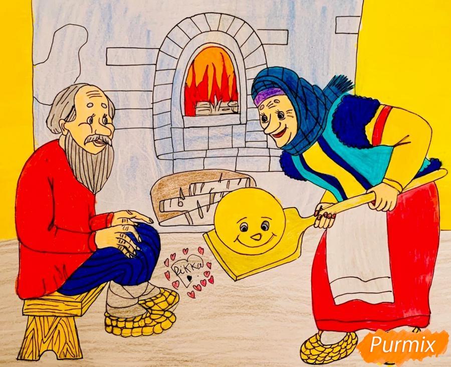 Рисуем деда бабку и колобка из сказки цветными карандашами - шаг 18