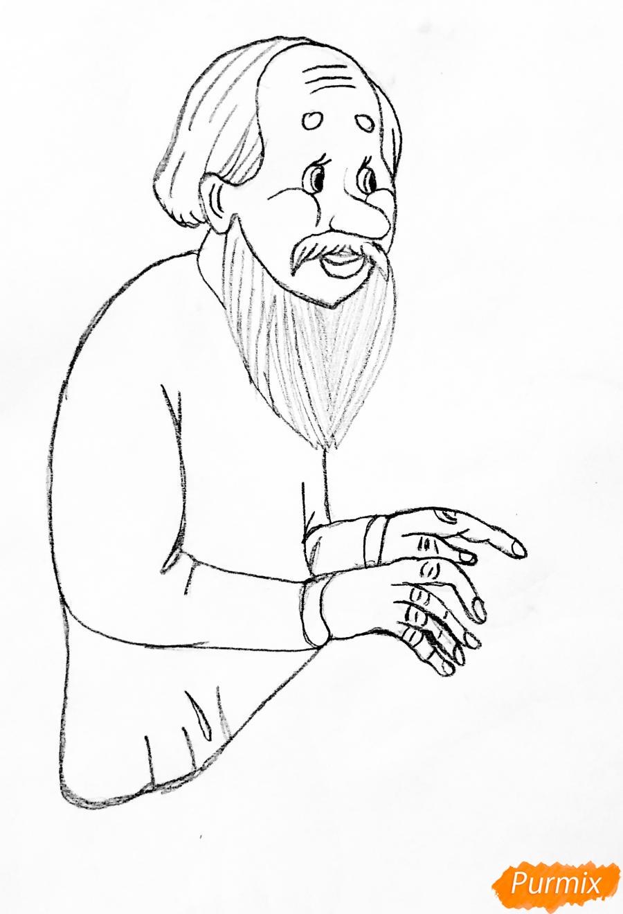 Рисуем деда бабку и колобка из сказки цветными карандашами - шаг 2