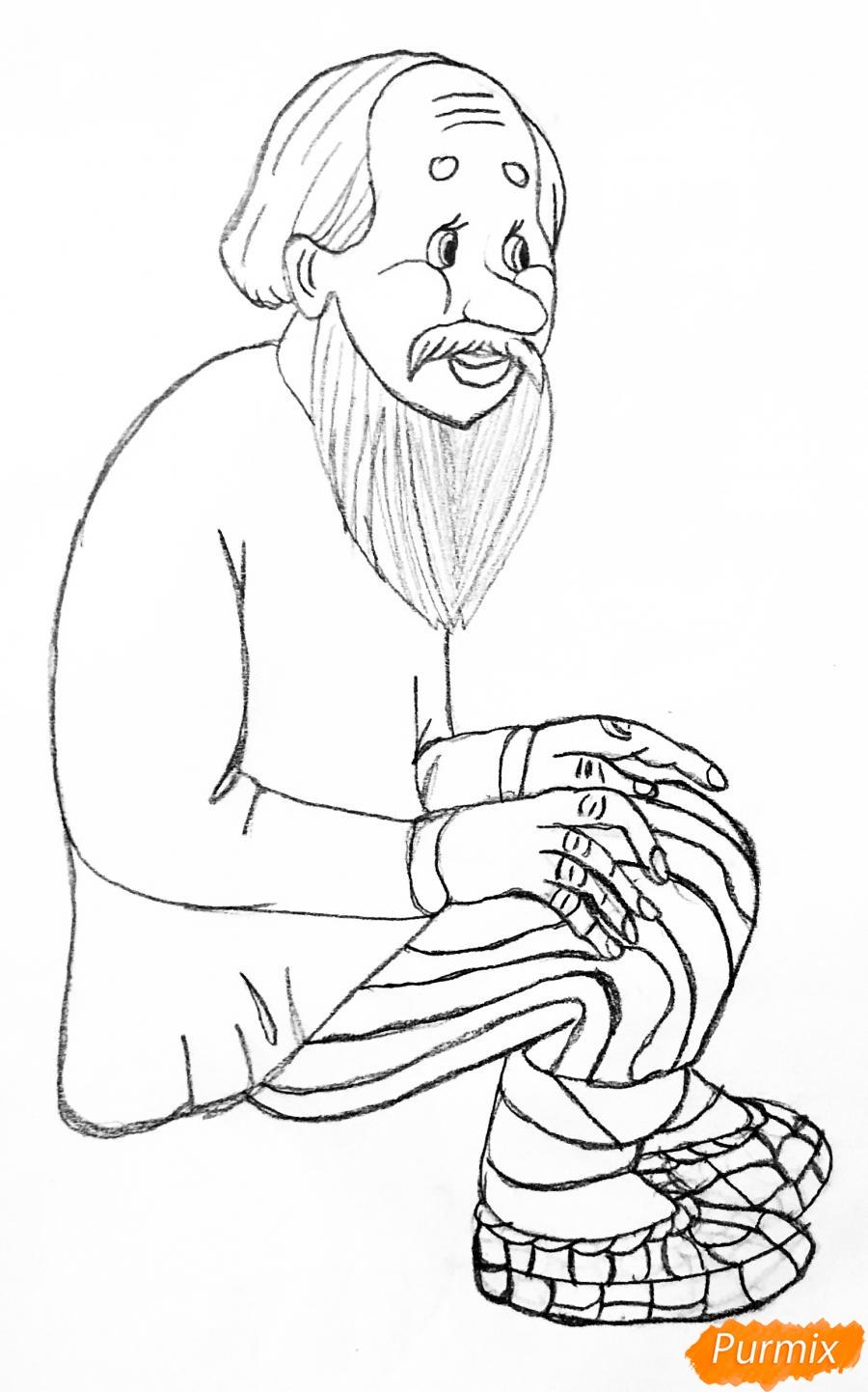 Рисуем деда бабку и колобка из сказки цветными карандашами - шаг 3