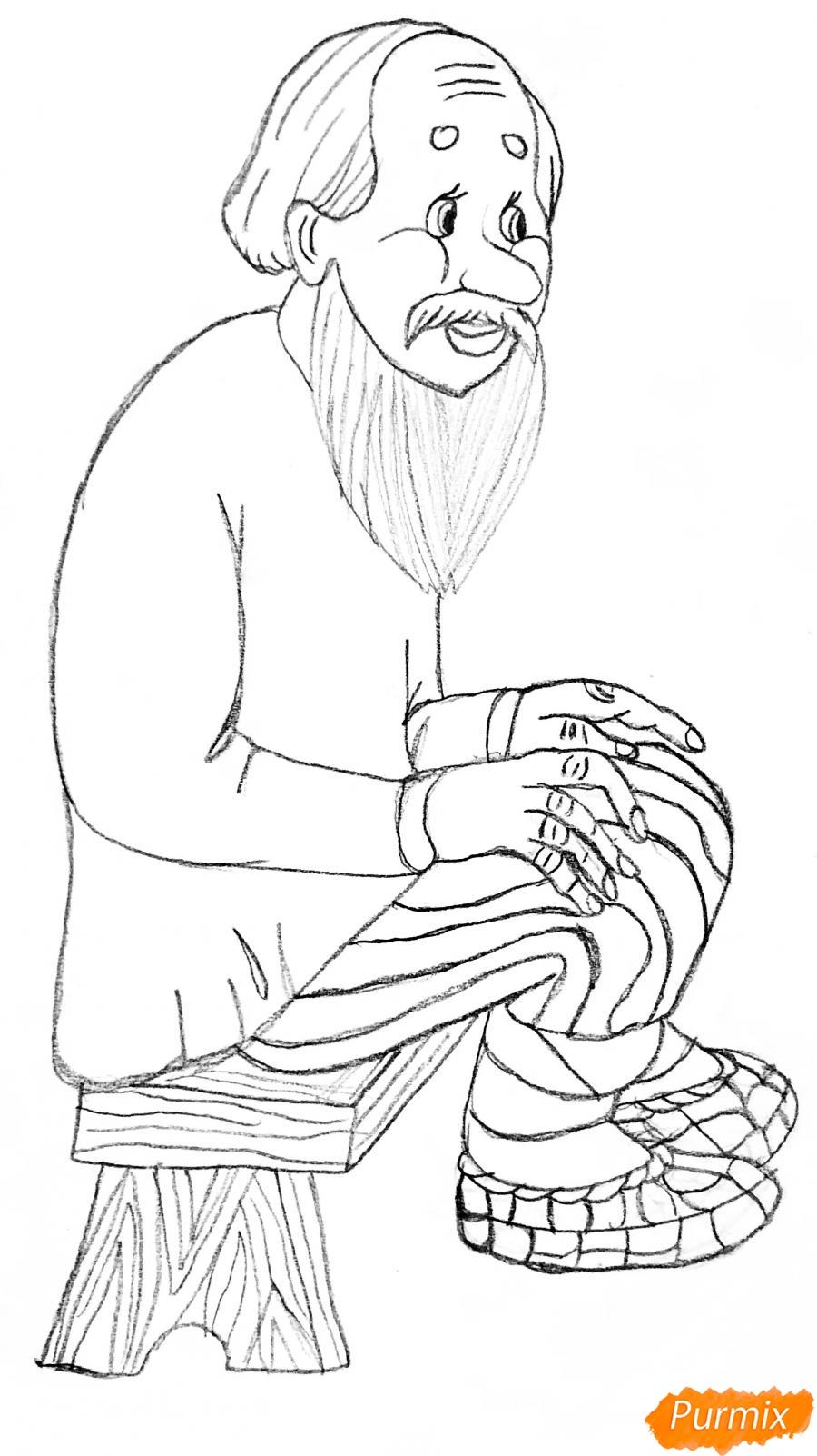 Рисуем деда бабку и колобка из сказки цветными карандашами - шаг 4