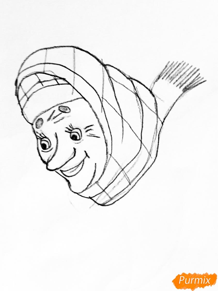 Рисуем деда бабку и колобка из сказки цветными карандашами - шаг 5