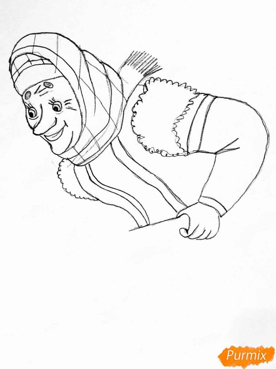 Рисуем деда бабку и колобка из сказки цветными карандашами - шаг 6