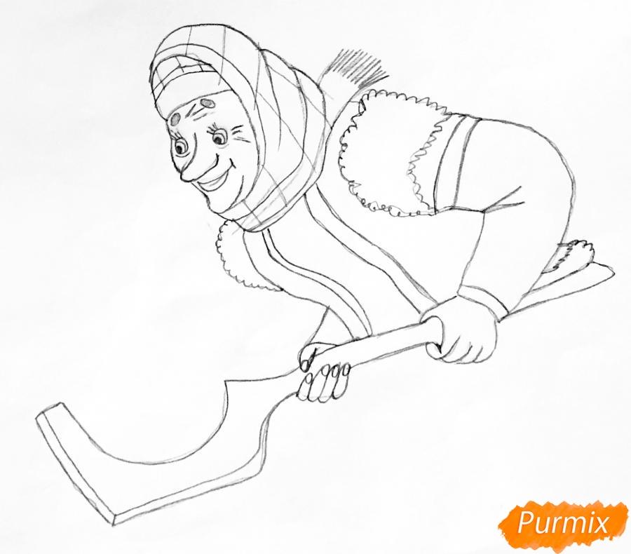 Рисуем деда бабку и колобка из сказки цветными карандашами - шаг 7