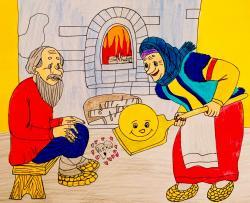 Фото деда бабку и колобка из сказки карандашами