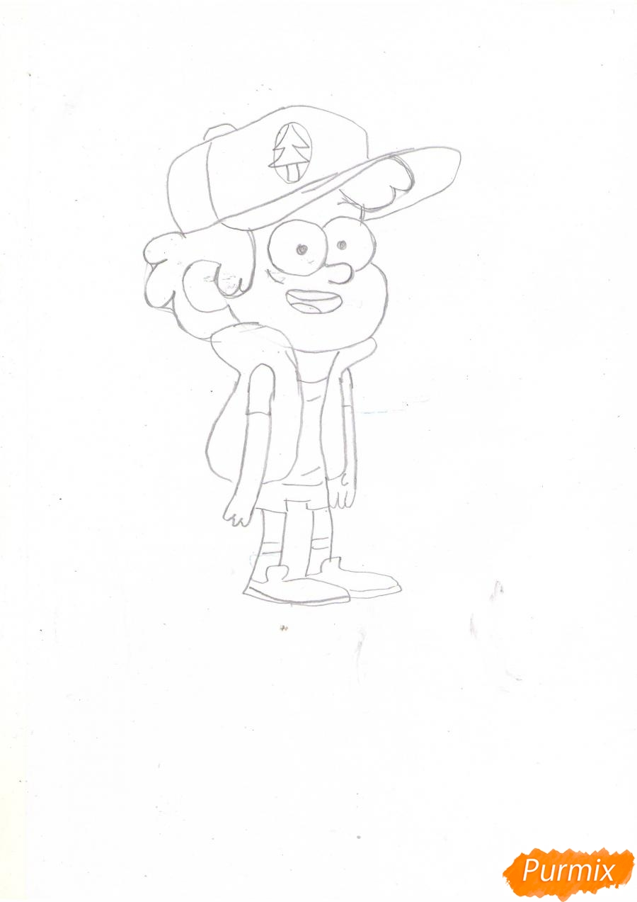 Рисуем Диппера Пайнса из Гравити фолз карандашами - шаг 4