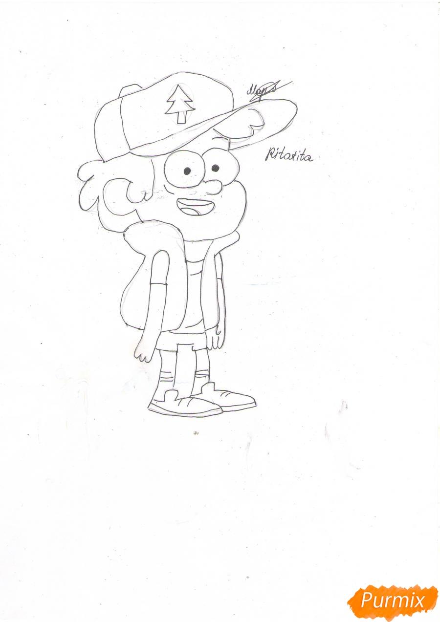 Рисуем Диппера Пайнса из Гравити фолз карандашами - шаг 5
