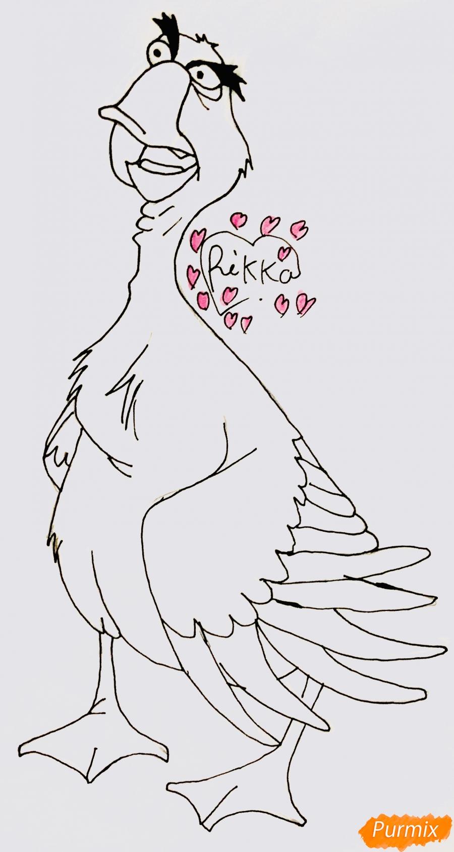 Рисуем гуся по имени Борис из мультфильма Балто карандашами - шаг 4