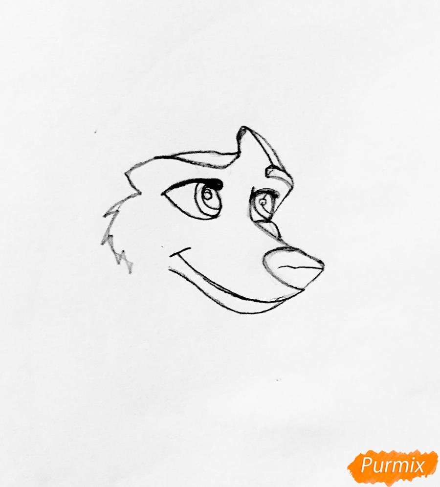 Рисуем хаски Дженну из мультфильма Балто - шаг 1