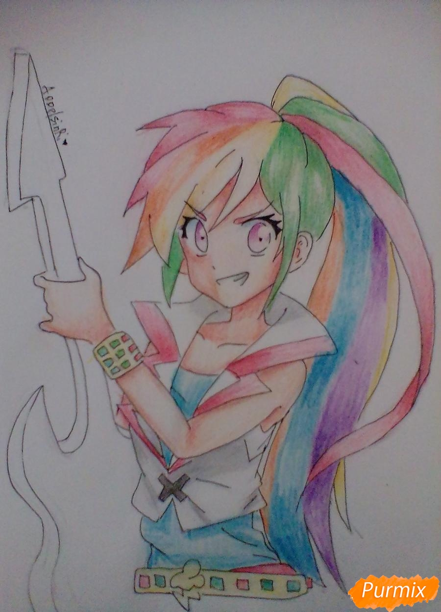 Рисуем и раскрасить Rainbow Dash в аниме стиле - шаг 10