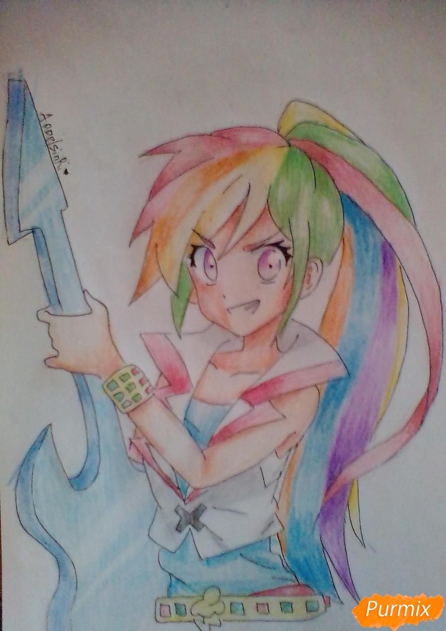 Рисуем и раскрасить Rainbow Dash в аниме стиле - шаг 11