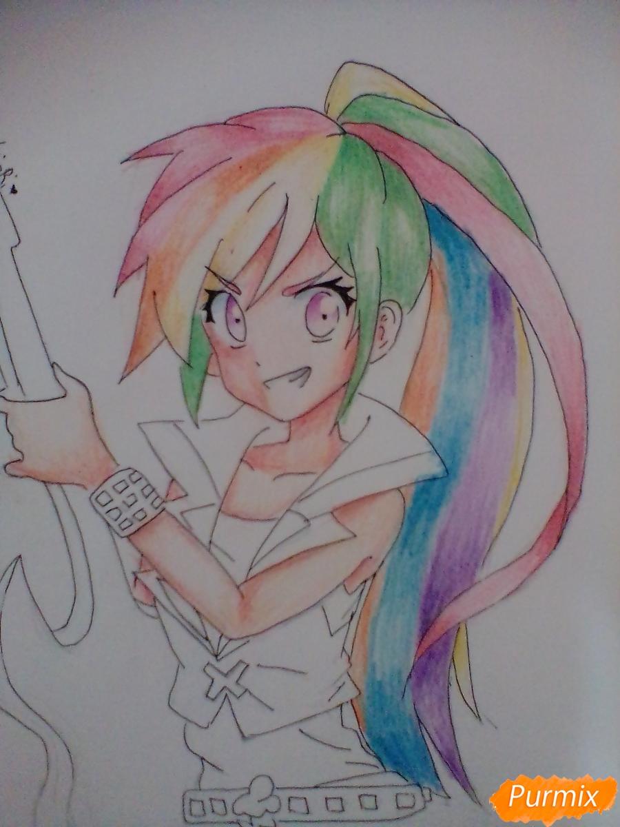 Рисуем и раскрасить Rainbow Dash в аниме стиле - шаг 9
