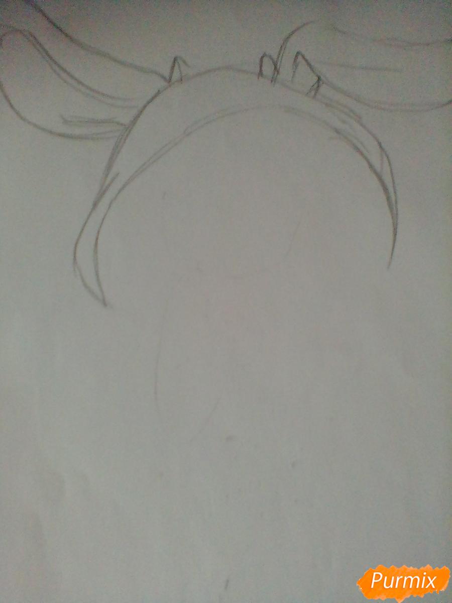 Рисуем и раскрасить Флаттершай в костюме зайчика - шаг 1
