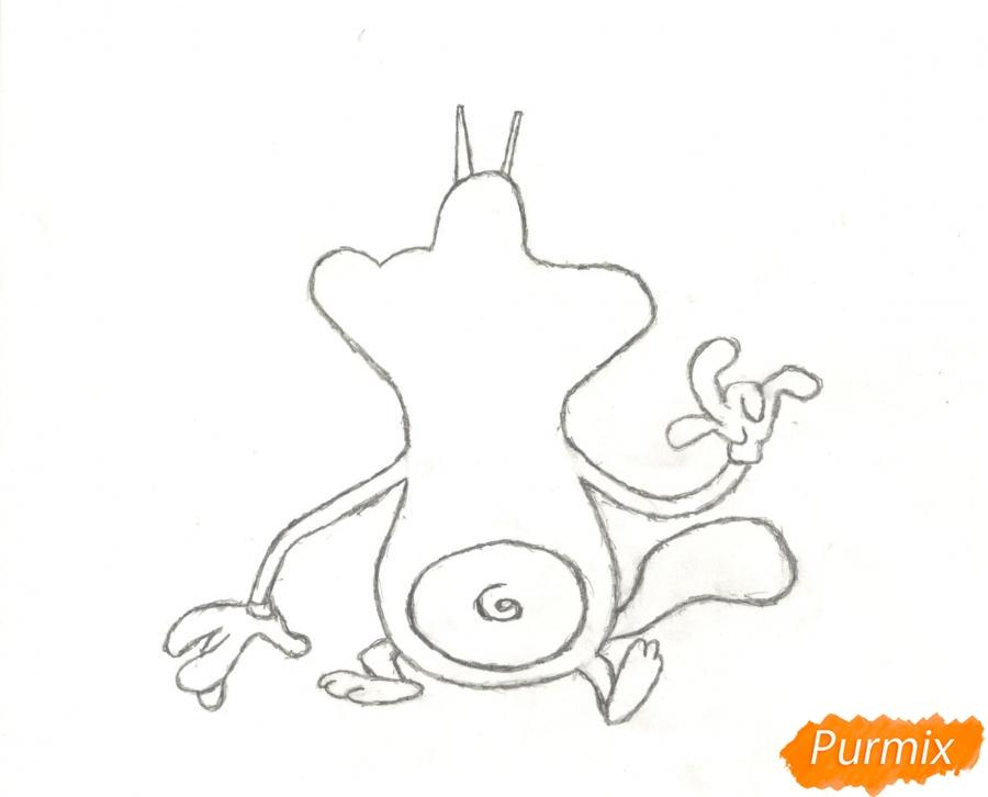 Рисуем и раскрасить кота Огги карандашами - шаг 4