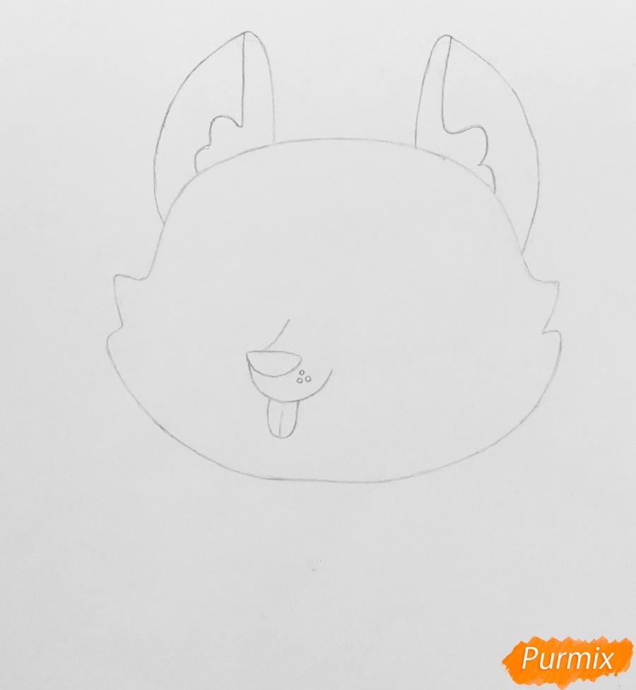 Рисуем коричневую хаски из мультфильма My Littlest Pet Shop - шаг 2