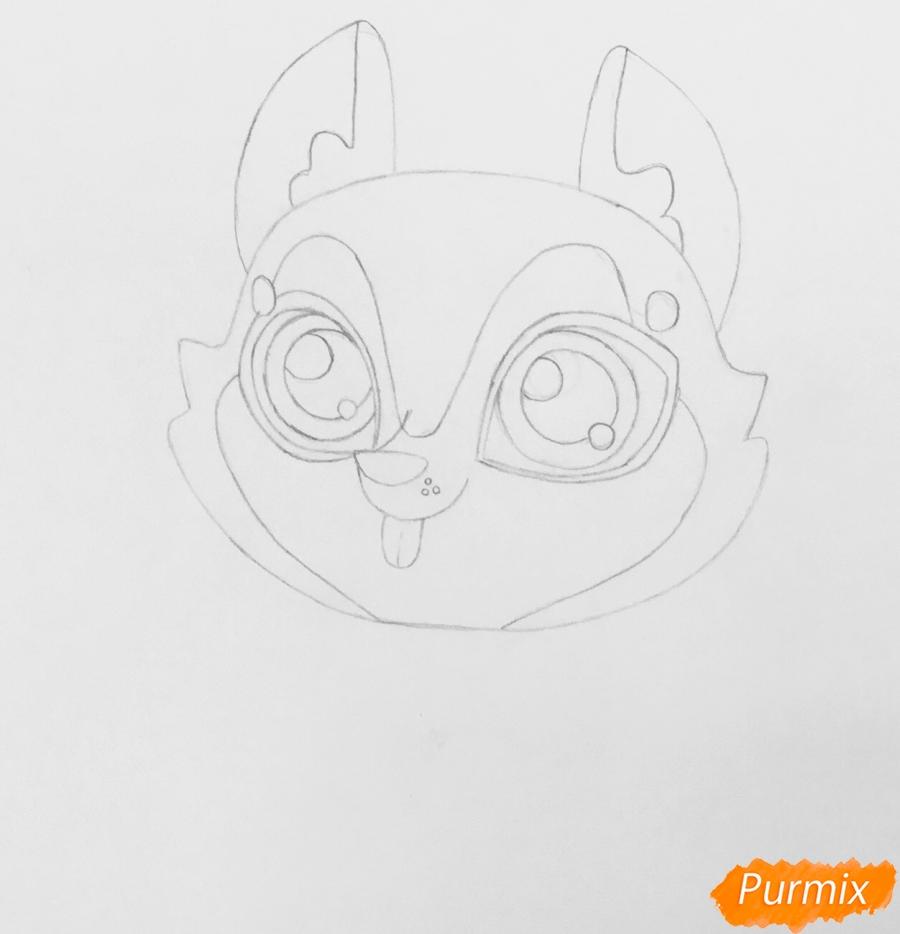 Рисуем коричневую хаски из мультфильма My Littlest Pet Shop - шаг 3