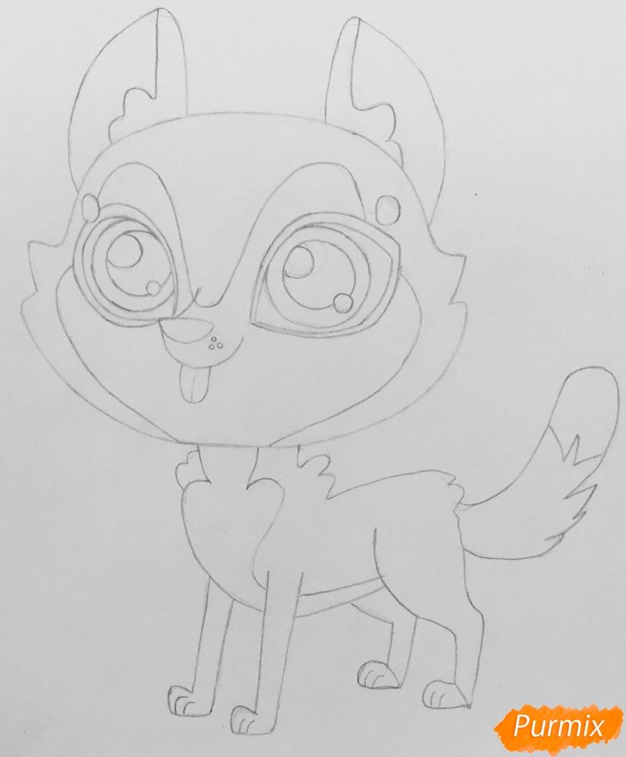 Рисуем коричневую хаски из мультфильма My Littlest Pet Shop - шаг 4