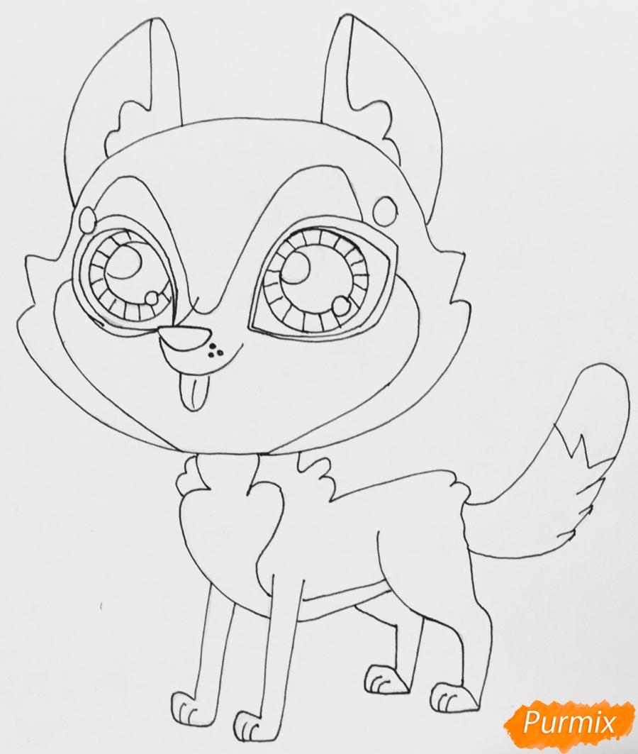 Рисуем коричневую хаски из мультфильма My Littlest Pet Shop - шаг 5