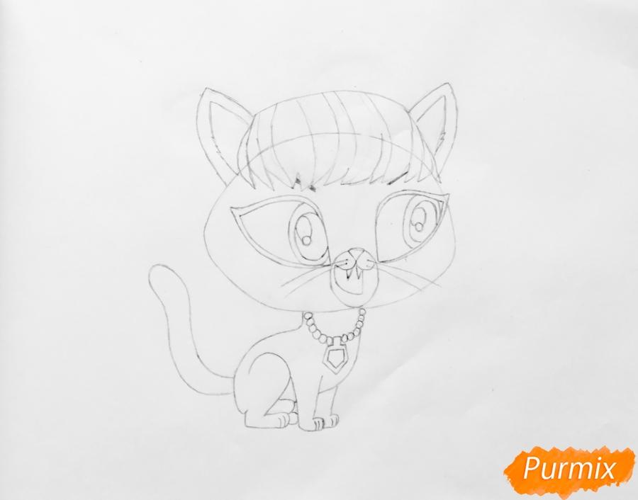 Рисуем кошку Делилу Барнслей из мультфильма My Littlest Pet Shop - шаг 4