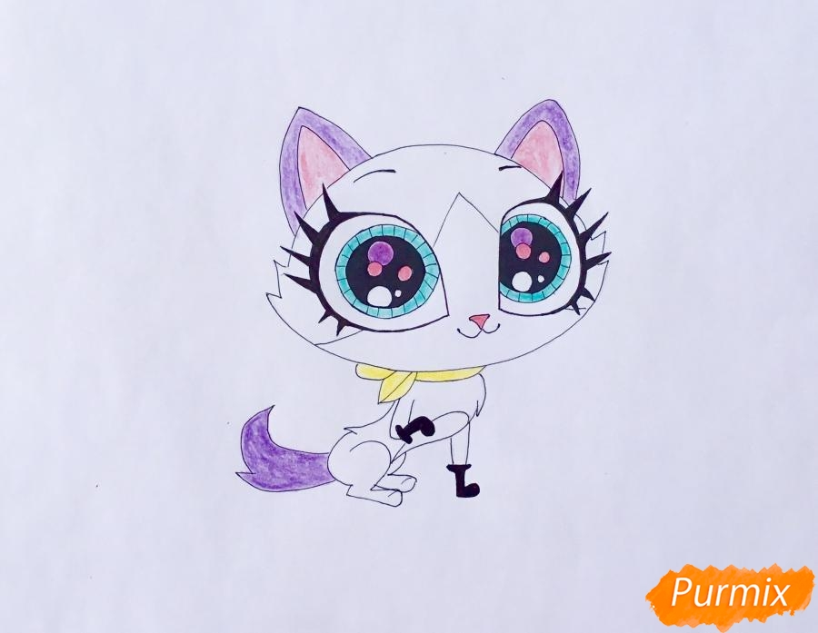 Рисуем кошку Фелину из мультфильма My Littlest Pet Shop - шаг 6