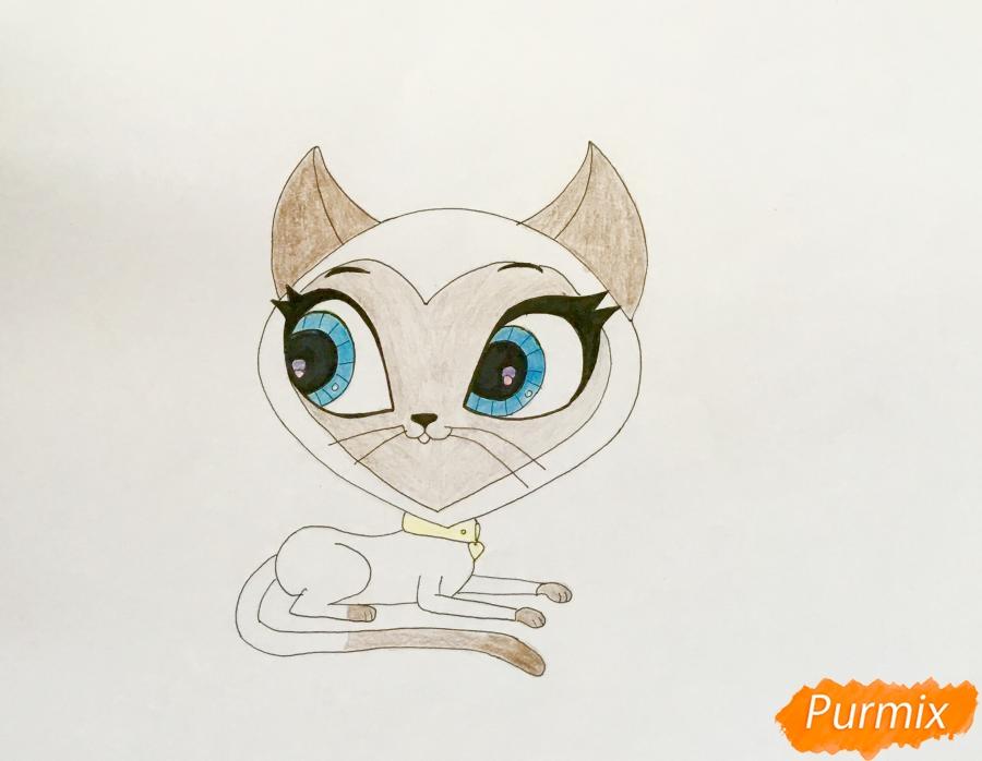 Рисуем кошку Керри из мультфильма My Littlest Pet Shop - шаг 6