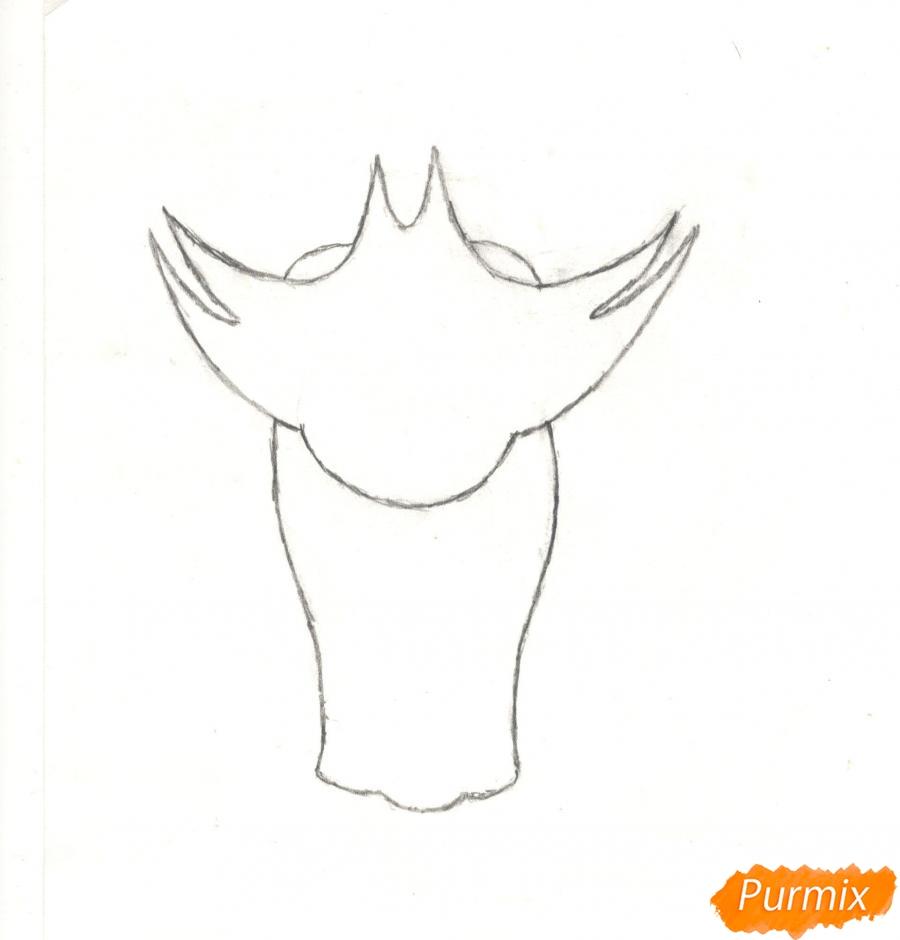 Рисуем кота Джека из мультисериала Огги и Тараканы карандашами - шаг 2