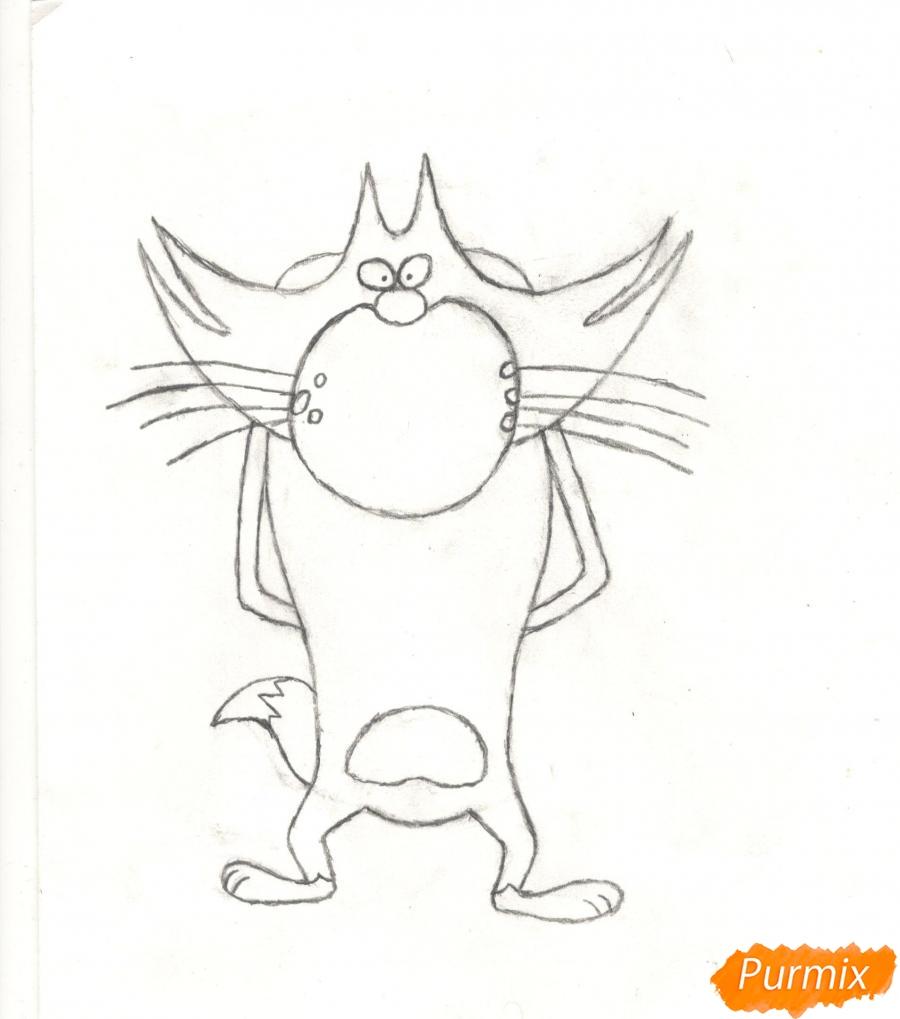 Рисуем кота Джека из мультисериала Огги и Тараканы карандашами - шаг 6