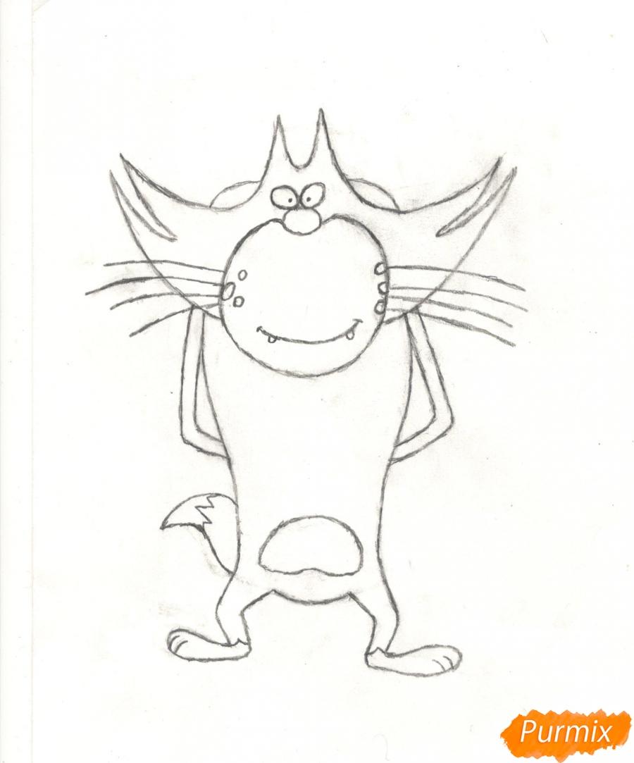 Рисуем кота Джека из мультисериала Огги и Тараканы карандашами - шаг 7